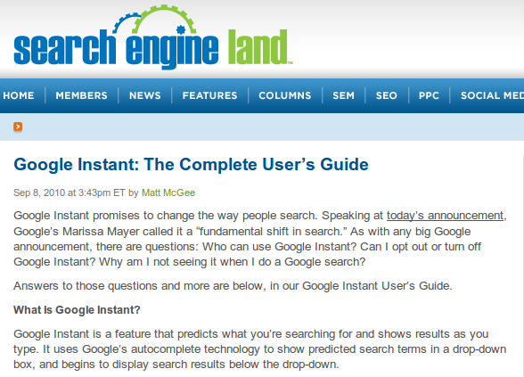 Search Engine Land Google Instant