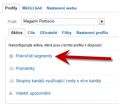 Google Analytics - Pehled aktiv