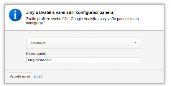 Google Analytics - Pijet sdlenho uivatelskho dashboardu