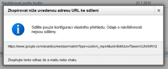 Google Analytics - Sdlen vlastnho reportu
