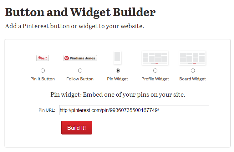 Pinterest: Button and Widget Builder
