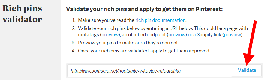 Pinterest Rich pins validator